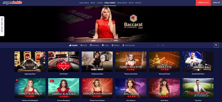 Süperbahis Canlı Casino Sayfası